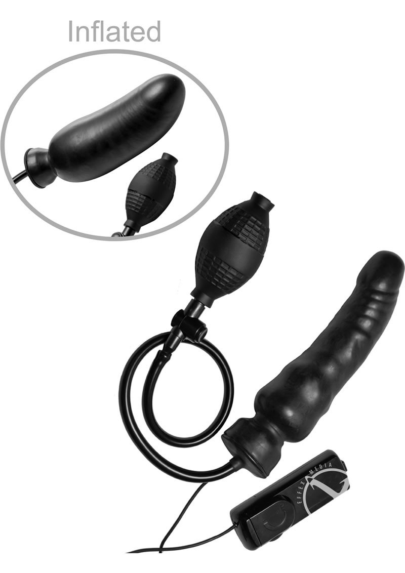 Master Series Ravage Vibrating Inflatable Dildo Black 8 Inch