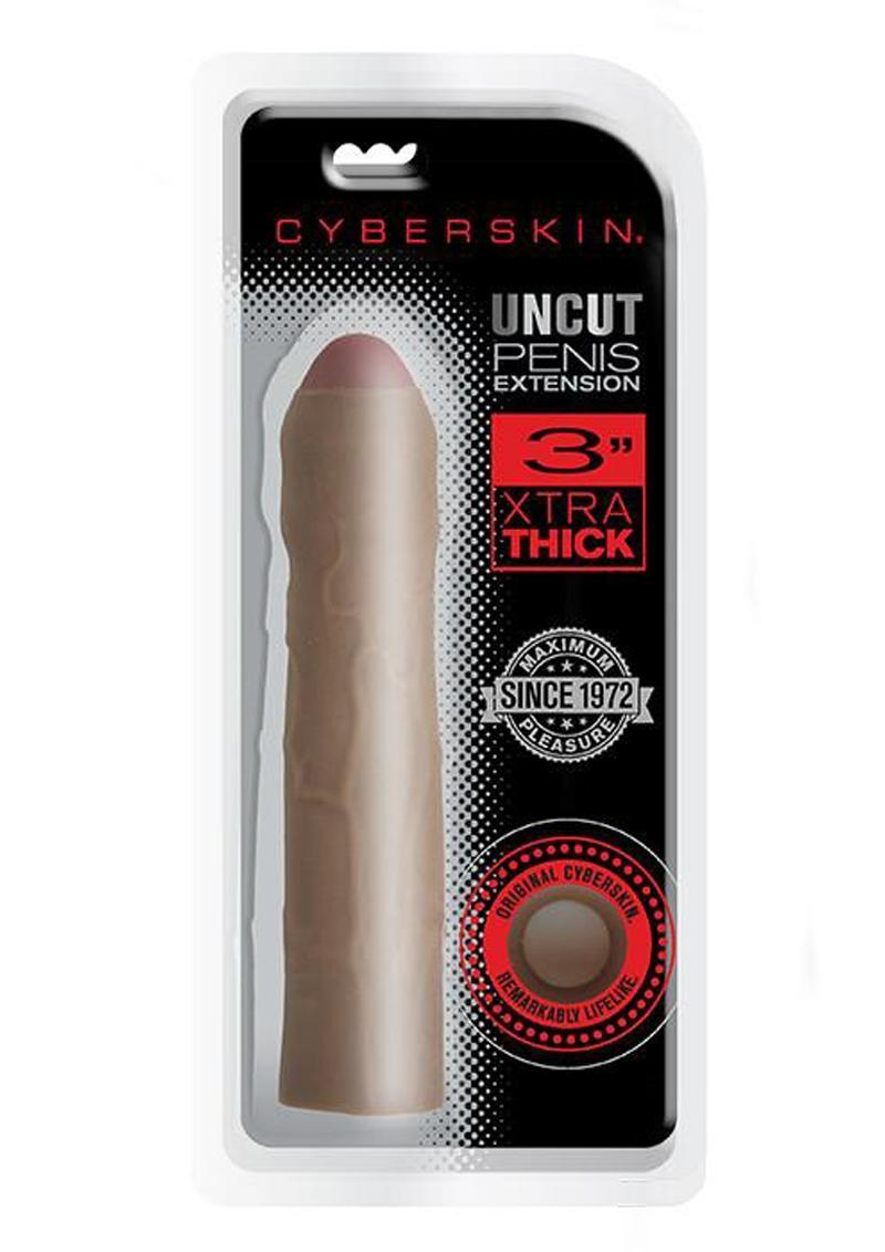 Cyberskin Uncut Realistic Penis Extension Xtra Thick Waterproof Brown 7.5 Inch